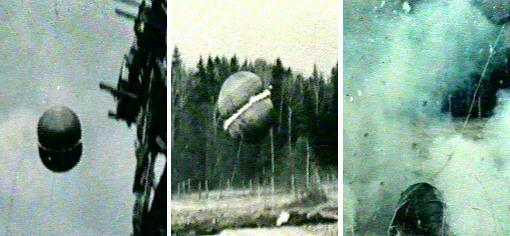 Testy poduszki powietrznej statku kosmicznego typu E-6. Źródło: RKK Energia / www.astronautix/com