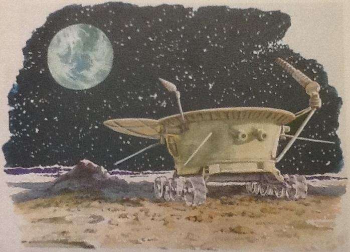 Pojazd Łunochod na Księżycu. Rysunek z książki do nauki języka rosyjskiego z 1973 r.