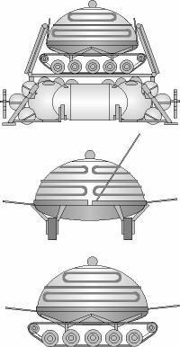 Projekt pojazdu OKB-1 z Instytutu Koroliowa - przodka Łunochoda. Źródło: www.astronautix.com