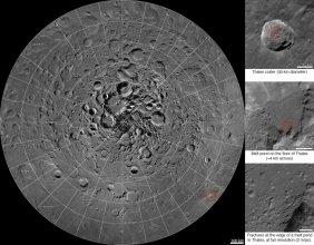 Mozaika zdjęć wokół północnego bieguna Księżyca
