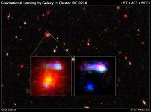 Soczewka grawitacyjna z gromady galaktyk IRC 0218