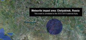Obszar upadku meteorytów po eksplozji bolidu nad Czelabińskiem w Rosji 15.02.2013 r.