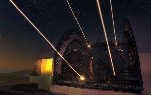 Teleskop E-ELT z optyką adaptywną i laserowymi gwiazdami porównania (wizja artysty)