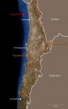 Mapa z położeniem obserwatoriów ESO w Chile