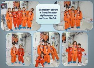 Brzeszcze - uczniowie w strojach przypominających kombinezony astronautów
