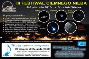 Plakat promujący III Festiwal Ciemnego Nieba