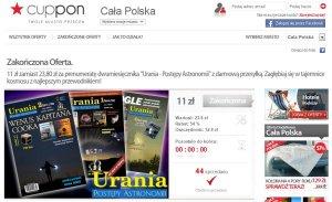 Promocja Uranii w serwisie zakupów grupowych Cuppon.pl