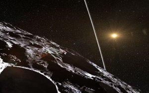Wizualizacja planetoidy Chariklo i jej pierścieni