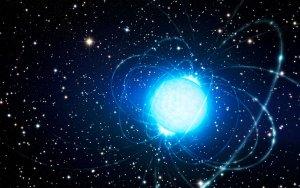 Artystyczna wizja magnetara w gromadzie gwiazd Westerlund 1