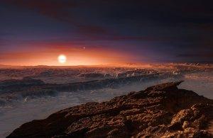 Powierzchnia planety wokół gwiazdy Proxima Centauri b - wizja artystyczna