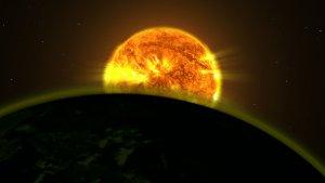 Światło gwiazdy rozświetla atmosferę egzoplanety (wizja artystyczna)