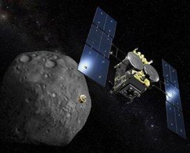 Sonda Hayabusa 2 przy planetoidzie Ryugu - wizualizacja