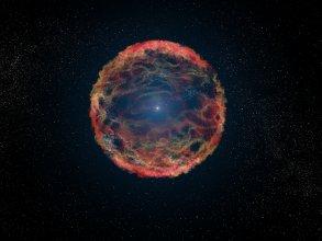 Artystyczna wizja supernowej 1993J w galaktyce M 81
