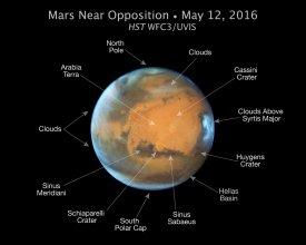 Mars sfotograwoany Teleskopem Hubble'a - oznaczono najciekawsze struktury na powierzchni