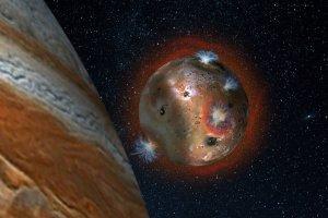 Artystyczna wizja zmian atmosfery na Io (po prawej Jowisz rzucający cień na księżyc)