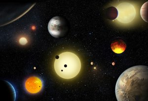 Artystyczna wizja wybranych planet pozasłonecznych odkrytych w ramach misji Kepler