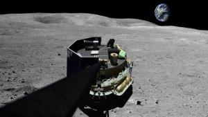 Wizja artystyczna lądownika Moon Express MX-1 na powierzchni Księżyca