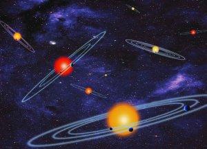 Artystyczna wizja układów wieloplanetarnych z planetami tranzytującymi