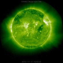 Zdjęcie Słońca wykonane w zakresie ultrafioletowym przez STEREO-A