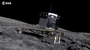 Wizja artystyczna przedstawiająca lądownik Philae na powierzchni komety. Źródło: ESA