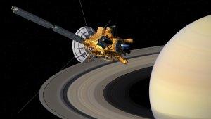 Artystyczna wizja sondy Cassini w pobliżu Saturna