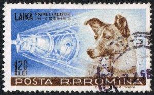 Rumuński znaczek pocztowy z Łajką, psem, który poleciał w kosmos, aut. Neozoon (2009), Wikipedia/dp