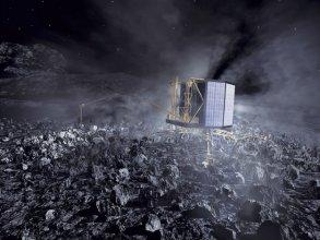 Lądownik Philae na jądrze komety (wizja artysty)