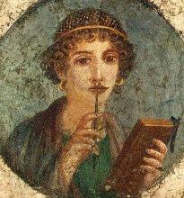 """Starożytny fresk przedstawiający poetkę (nazywany: """"Safona"""")"""