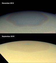 Zmiany barwy bieguna północnego Saturna