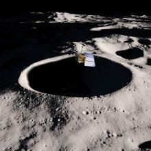 Sonda Lunar Reconnaissance Orbiter nad Księżycem - wizualizacja