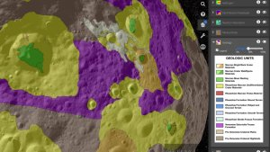 Obszary geologiczne na modelu planetoidy Westa