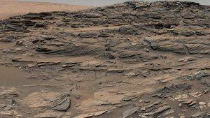 Panorama przedstawiająca skamieniałe wydmy na Marsie