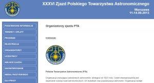 Witryna 36. Zjazdu Polskiego Towarzystwa Astronomicznego (PTA)