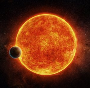 Tranzyt planety LHS 1140 b na tle tarczy czerwonego karła