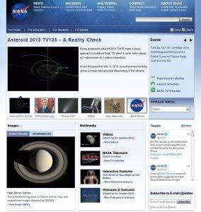 Aktualny wygląd witryny internetowej NASA