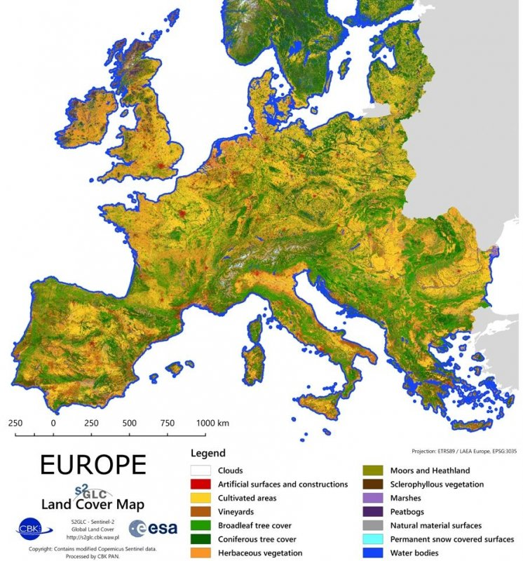 The Land Cover Map of Europe 2017